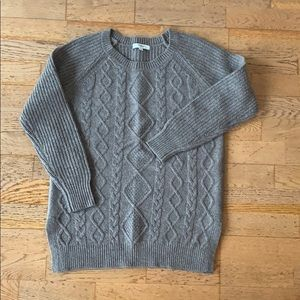 LIKE NEW! Madewell taupe cable knit sweater SMALL